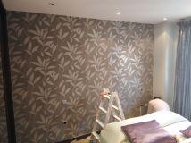 Dormitorio Papel pintado gris y plata (2)