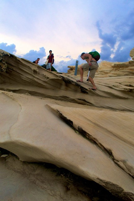 Stein Retzlaff ('16). Diehl, and Lucas Mark Rogers ('16) hike through some dunes in the National Park.