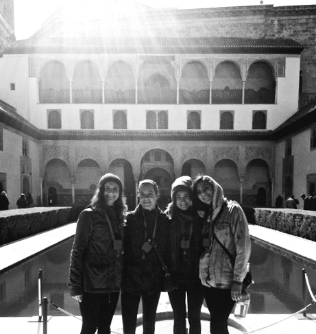 A picture inside of the Alhambra in Granada, which is a small city and palace built during Arab rule of Southern Spain. (Photo credit: Madelyn McMullen)  Left to right: Sarah Ruggiere '16, Wamboldt, Madelyn McMullen '16, and Sofia Knutson '16.