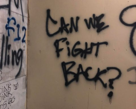 "Photograph of the words ""Can We Fight Back?"" spray painted in black on a beige wall."