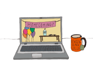 A laptop is open to a virtual version of Homecoming with a banner, balloons and hand sanitizer. Next to the laptop is an LC mug.