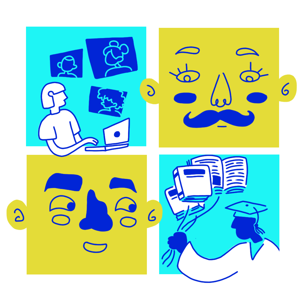 Puzzle pieces, two of which show faces, one showing a student taking virtual classes, and a fourth showing a student graduating college with balloons shaped like books