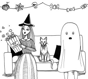 A witch, a cat and a ghost sit on a couch watching a movie.