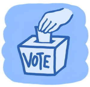 Illustration of voter putting ballot in box