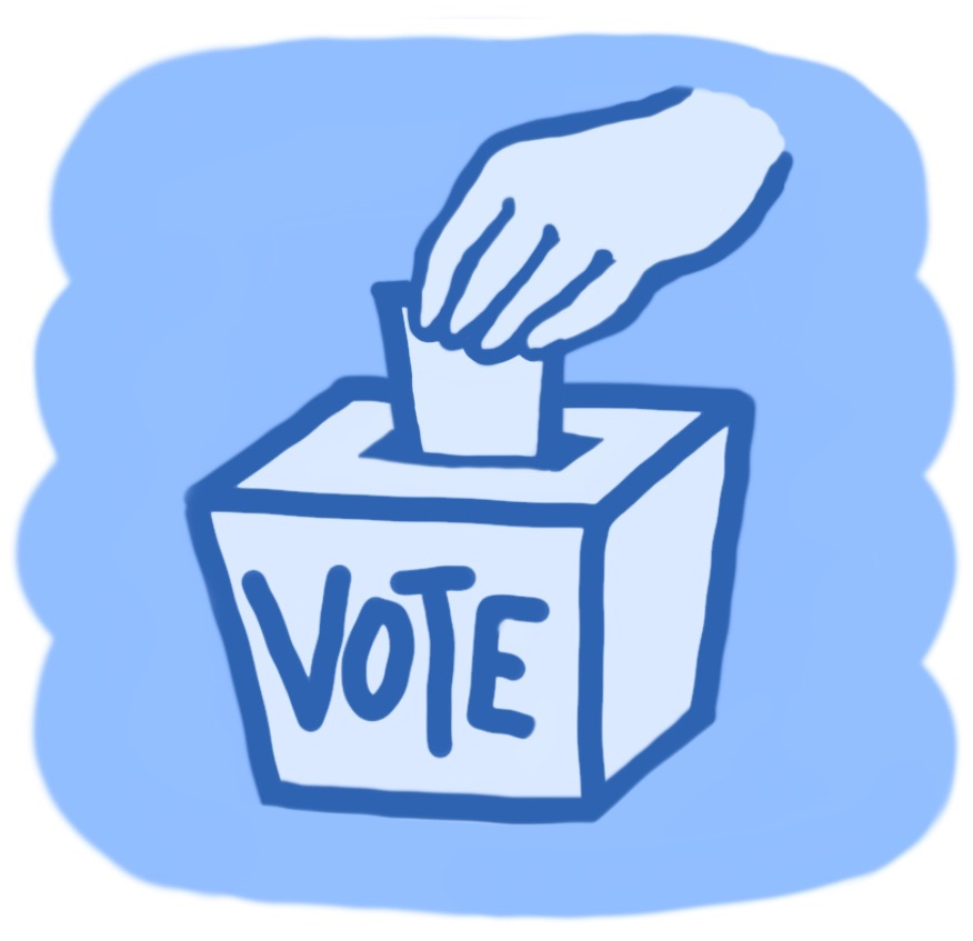Illustration of voter putting ballot in box