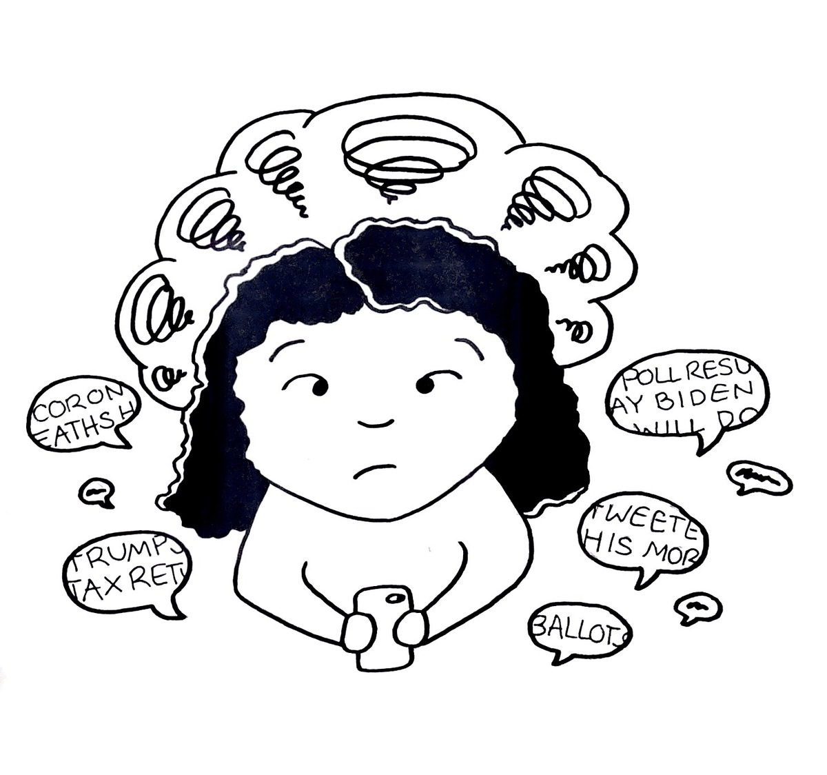Woman looking anxious with speech bubbles surrounding her