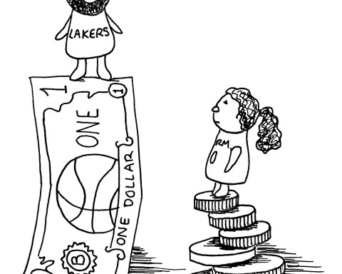 Man standing on top of a dollar bill and a woman standing ona stack of coins.