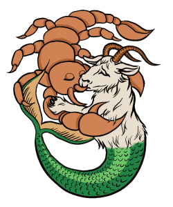 A large scorpion is kissing a half ram half fish astrology body.