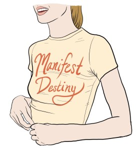 "White disillusioned girl wearing a yellow ""Manifest Destiny"" shirt"