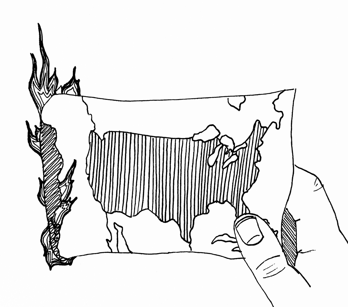 Picture of burning United States map.