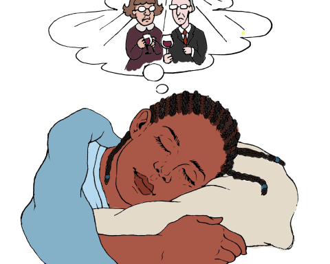 Sleeping girl dreams of professors at a party.
