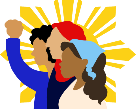 An illustration of three people, one wearing a head scarf and one wearing a bandana, stand in front of the star from the flag of the Phillipines.