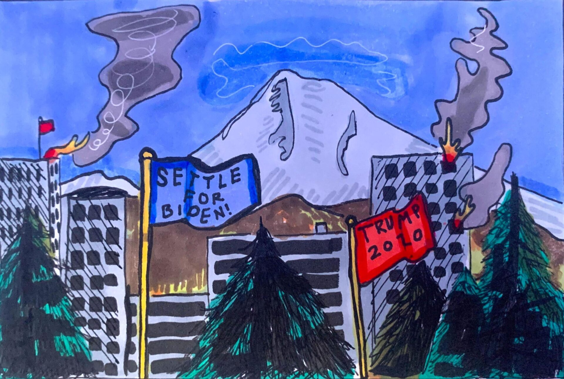 "A hand drawn illustration with the city of Portland (trees and mountains) and two different flags: one is blue and says ""Settle for Biden!"" and the other is red with ""Trump 2020"" on it"