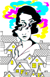 Blurry woman with colored cloud above her head, staring over the tops of houses.