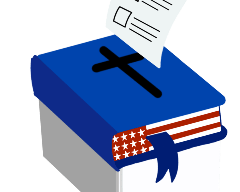 illustration of a closed blue bible with an American flag print over the pages. A ballot goes into the black cross on the cover of the bible, mimicking a ballot box.