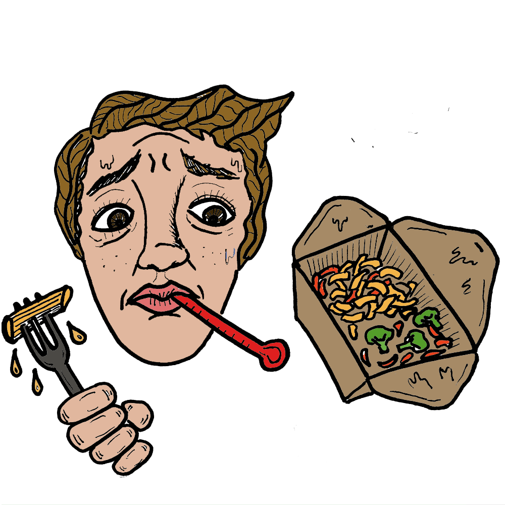 Cartoon student with thermometer in their mouth holds bon take-away box