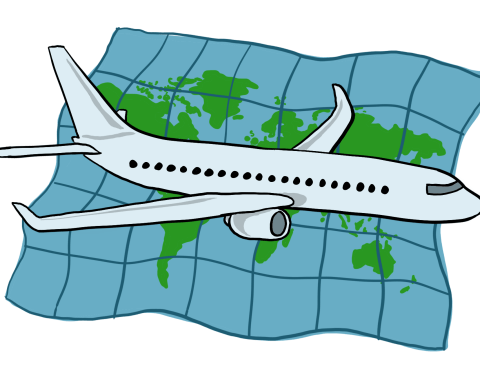 An illustration of a plane in front of a map.