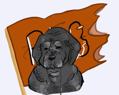 """LC dog mascot drools in front of a torn orange """"Pios"""" flag."""