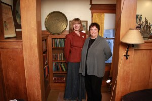 Editor Pamela Smith Hill and SDSHS Press director Nancy Tystad Koupal stand in Laura Ingalls Wilder's library