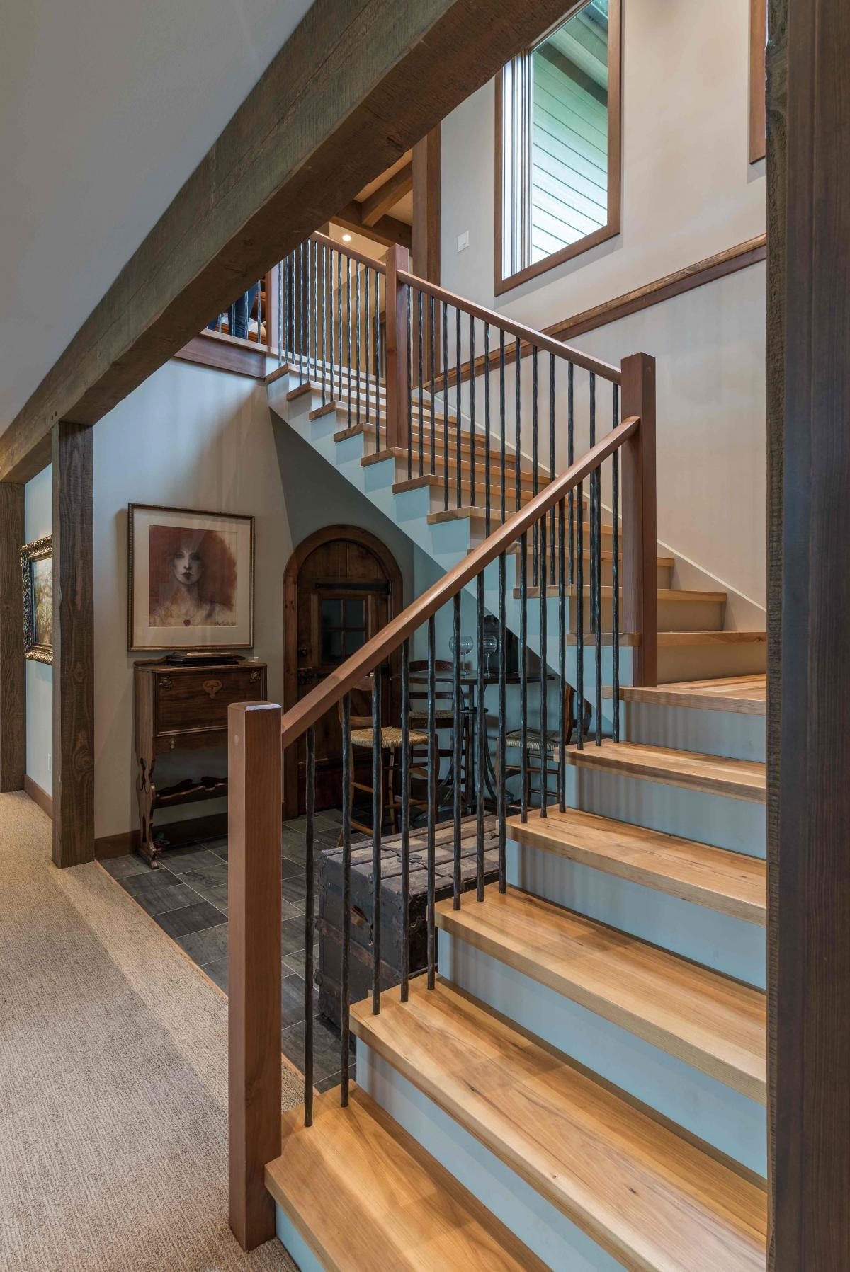 Custom Reclaimed Wooden Stairs And Treads Pioneermillworks | Reclaimed Oak Staircase For Sale | Spindles | Reclaimed Wood Stair Railing | Spiral Staircase | White Oak | Architectural Salvage