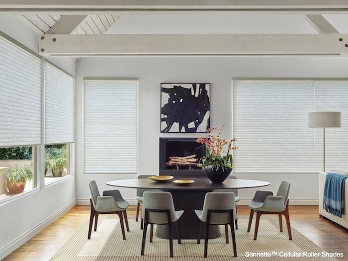 Gray chairs in dining area