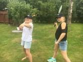Badminton mot Heidi og Trine