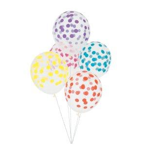 globos transparentes con lunares multicolor