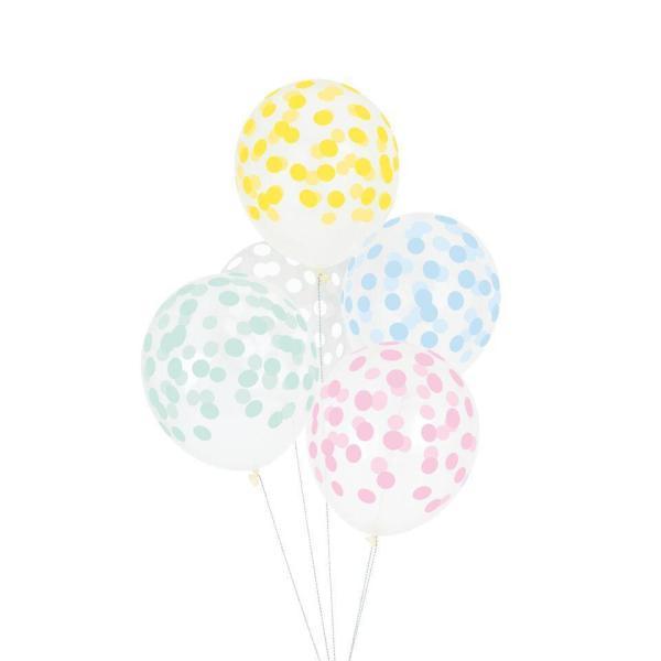 surtido de globos transparentes con lunares pastel