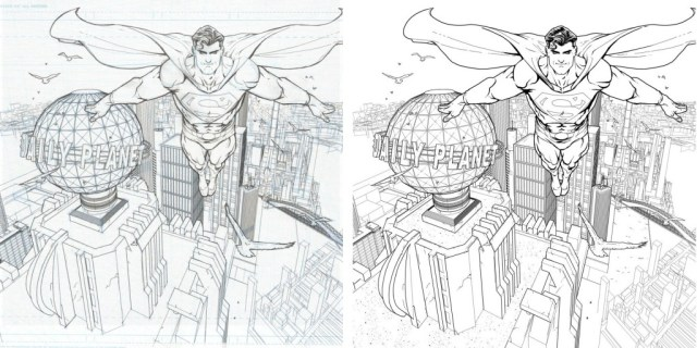 Pencils and digital inks from Freddie Williams' cover to DC Comics Guide to Digitally Drawing Comics