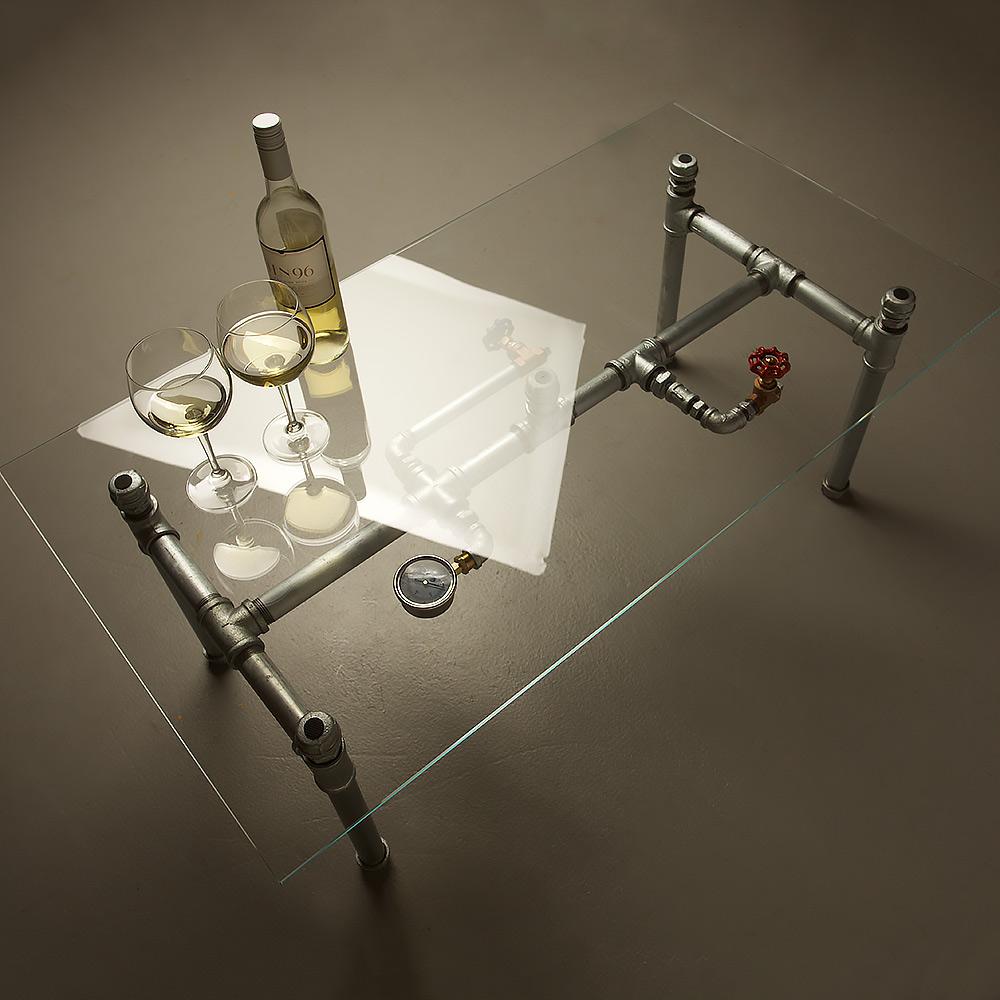 Small Glass Plumbing Pipe Coffee Table