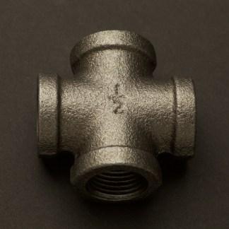 Half Inch Black Steel 15mm Cross Fitting F&F