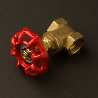 Red handle half inch brass 15mm inline tap