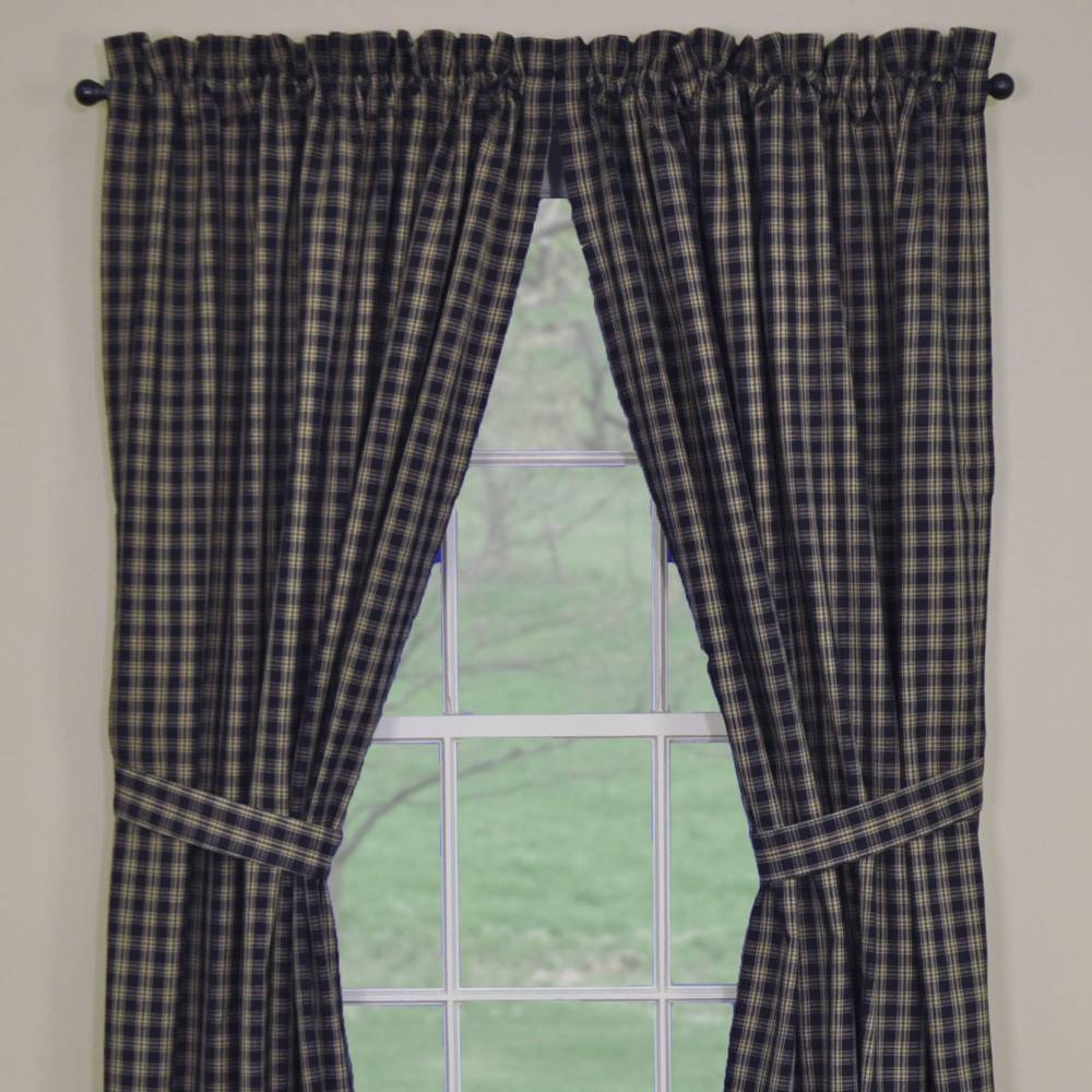 Country Panel Curtains Sturbridge Navy Lined Panels 63