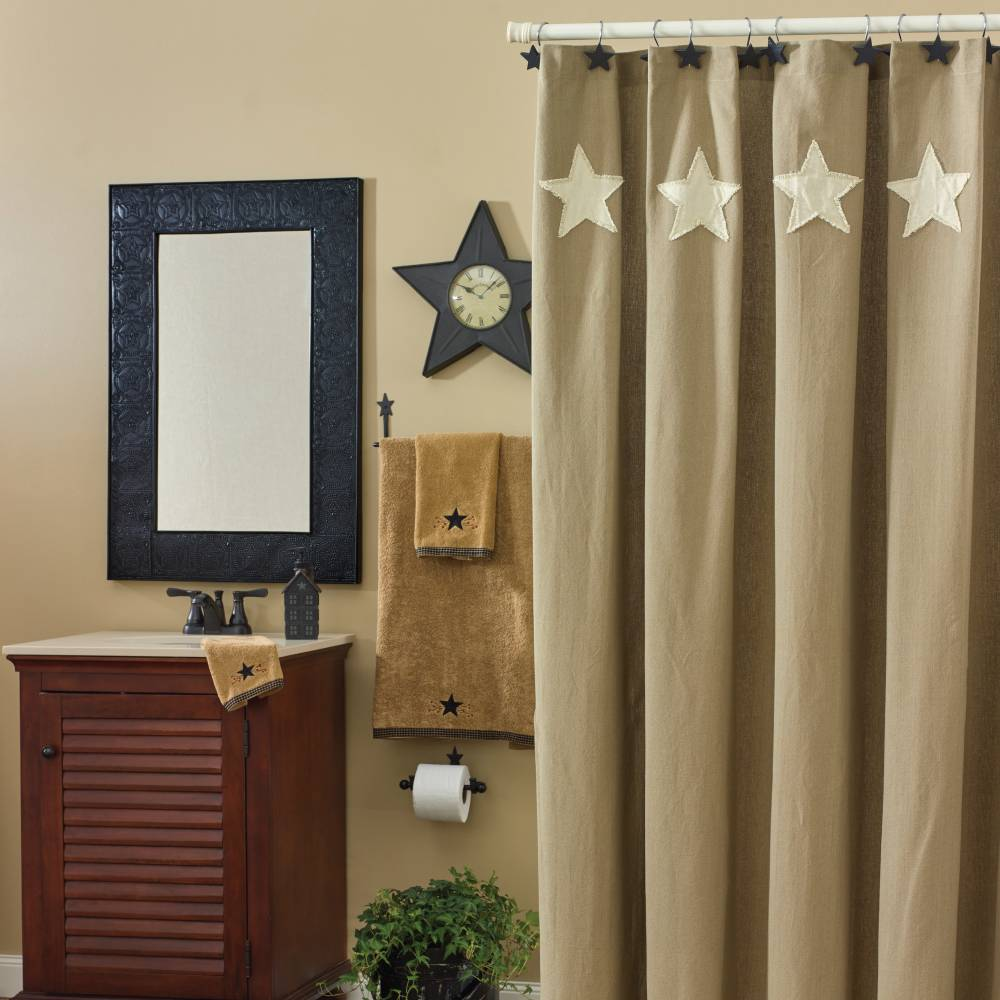 Country Bathroom Taupe Amp Stars Shower Curtain