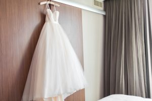Hotel Room Lighting of Wedding Dress