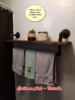 Industrial style towel rack with shelf