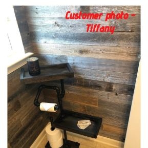 Industrial Style freestanding toilet paper holder with dual closed tray shelf-NEW LOWER PRICE!