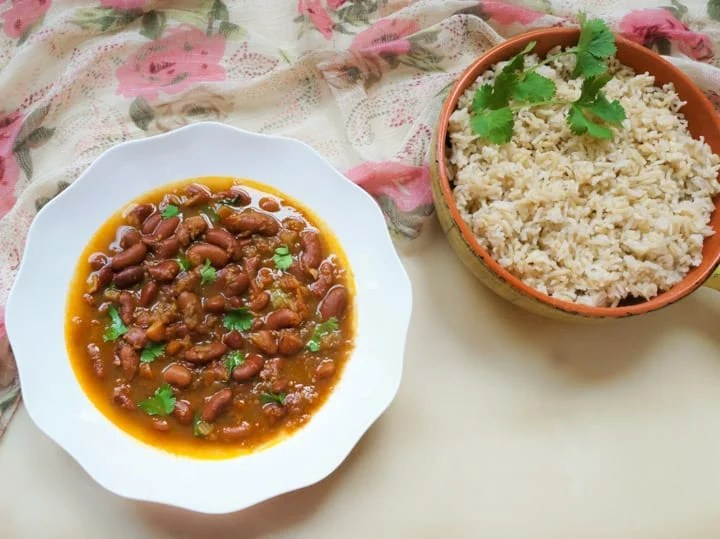 Instant Pot Rajma Masala in a bowl along with brown rice