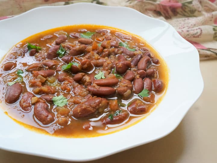 Instant Pot Red Beans Curry in a white bowl