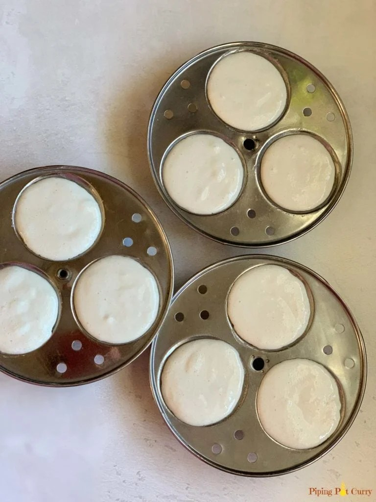 Idli batter in molds