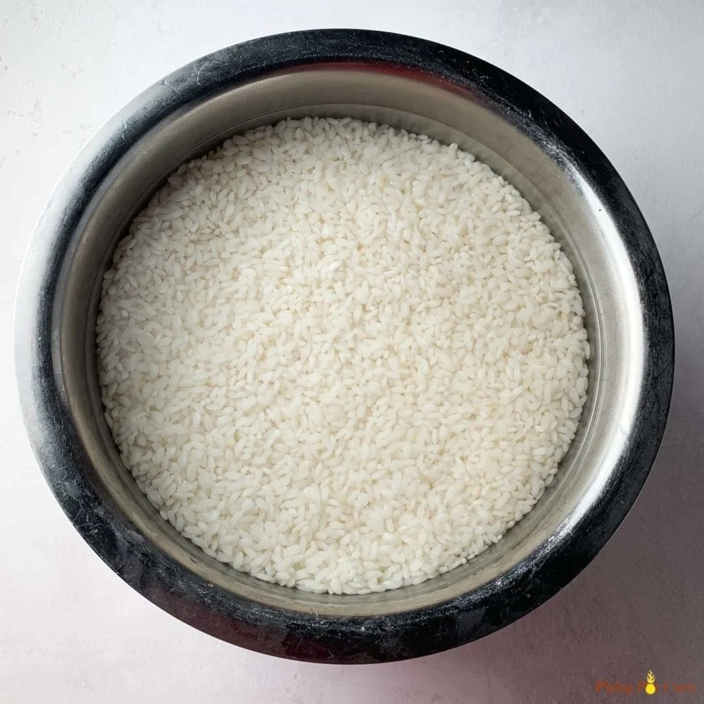 Soaked small grain rice in water