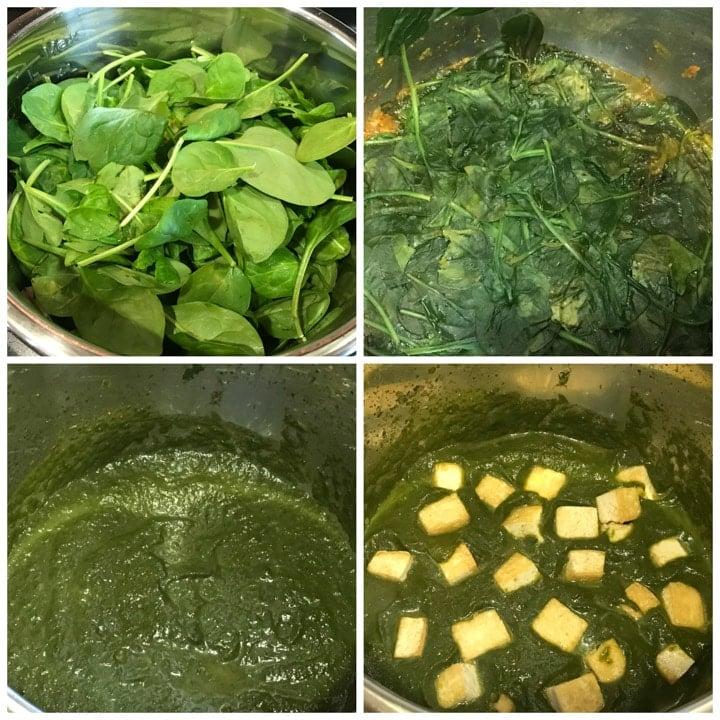 Vegan Palak Tofu Instant Pot Steps 2