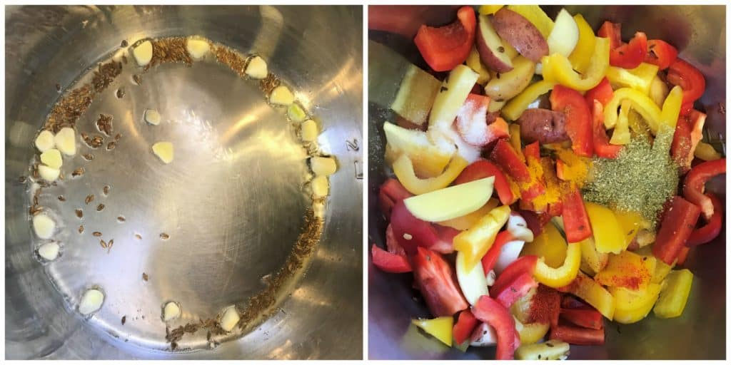 Bell Pepper and Potato Stir Fry Pressure Cooker Steps