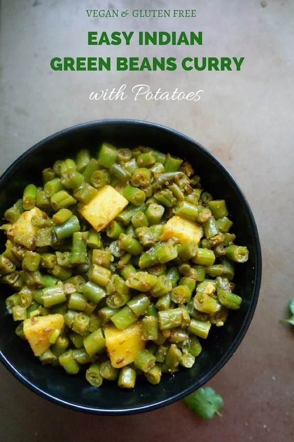 Aloo Beans (Indian Green Beans Curry) one of the quickest vegetable to make in the instant pot or stovetop. With just 2 minutes of pressure cooking, this will be perfectly cooked and not mushy | #aloobeans #instantpot #greenbeans #vegan #glutenfree