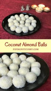 Snowy Balls of goodness - Coconut Almond Balls or Laddoo. A quick and easy sweet for any festival, made with almond powder, desiccated coconut and sweetened condensed milk. | pipingpotcurry.com