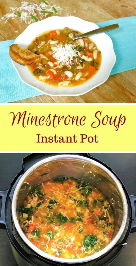 A perfect soup that is a complete meal in itself - Beans, loads of veggies and pasta, topped with cheese and a side of bread | #minestrone #soup #recipe #easy #vegetarian #healthy #instantpot #italian #pressurecooker #beans #pasta | pipingpotccurry.com