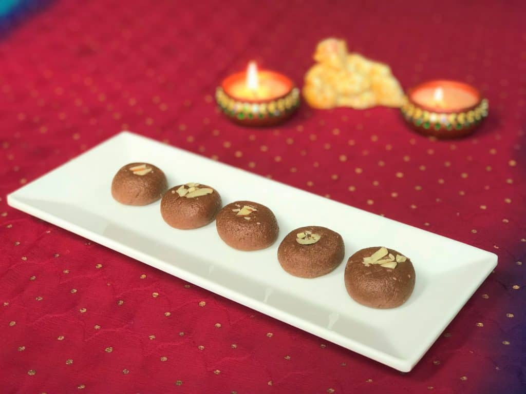 Chocolate Peda on a white plate