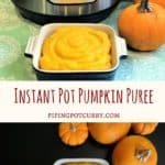 Do you still have some pumpkin's sitting around? Making fresh pumpkin puree is now so easy in the Instant Pot. NO peeling or cutting of the pumpkin ahead of time.   #pumpkin #puree #fall #instantpot #pressurecooker #recipe #vegan #glutenfree #howto #homemade #healthy #diy   pipingpotcurry.com