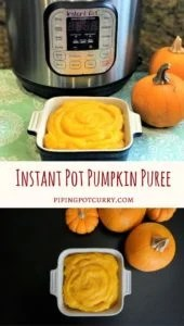 Do you still have some pumpkin's sitting around? Making fresh pumpkin puree is now so easy in the Instant Pot. NO peeling or cutting of the pumpkin ahead of time. | #pumpkin #puree #fall #instantpot #pressurecooker #recipe #vegan #glutenfree #howto #homemade #healthy #diy | pipingpotcurry.com