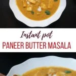 Paneer Curry garnished with cilantro and naan on the side or to dip in the sauce